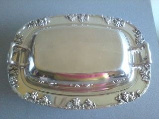 Vintage Heavy Silver On Copper By Gotham Grape Pattern Serving Dish 602 photo