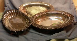 3 Silver Plated Trays Wm Rogers,  Int ' L Silver,  Lb photo