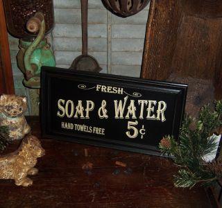 Primitive Antique Vtg Style Wood Framed 5 Cent Soap & Water Bath House Sign Deco photo