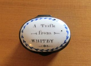 Antique Georgian Bilston Enamel Patch Box A Trifle From Whitby 1780 - 1800 photo