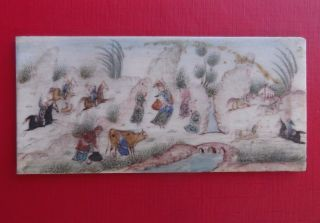Vintage Persian Arabic Islamic Asian Art Miniature Hand Painting On Bone photo