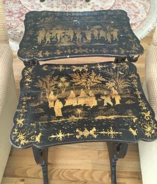 Antique 19th C.  Chinese Lacquer French Regency Chinoiserie Nest Tables Pair photo