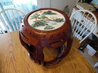 Vintage Asian Style Wooden Plant Stand End Table Marble Top N/r photo
