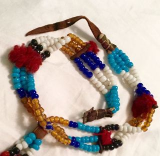 Glass Bead & Leather Necklace photo