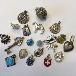 20 Vintage Sterling Silver Bracelet Charms,  Horses,  Religious,  City And Country photo
