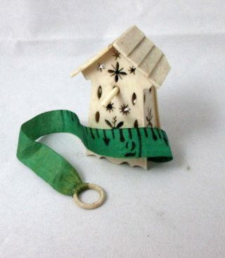 Hand Carved Bird House Wind - Up Tape Measure; Antique Mid 1800 ' S photo