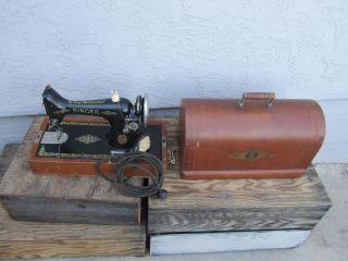 Antique Singer 99k Sewing Machine C1922 Aluminum W/ Carry Case Electric photo