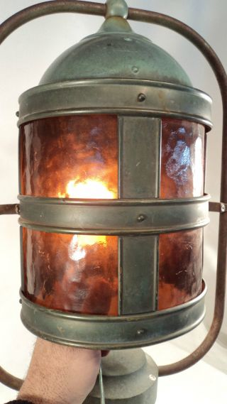 Large Vintage Harbor Light Dark Amber Copper Patina photo