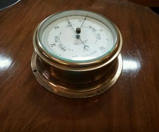 Vintage Brass Sestrel Marine Aneroid Barometer photo