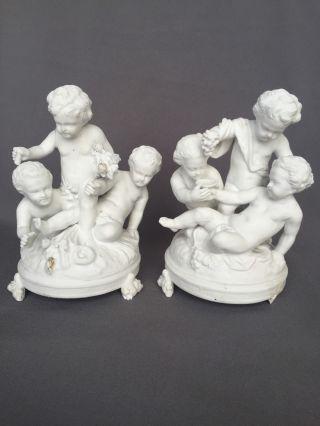 Pr Antique Sevres French Parian Porcelain Cherub Bisque Figurine Figure Putti photo