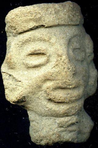 Pre - Columbian Early Mayan Terracotta Figure Head,  Ca;100 Bc - 500 Ad photo
