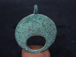 Ancient Bronze Moon Pendant,  Bronze Age 500 Bc Gl1714 photo