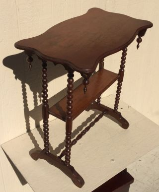 Fine Antique Victorian Walnut Table / Stand With Spool Legs photo