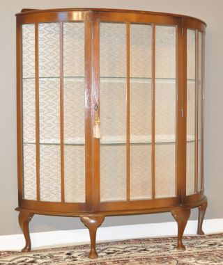 Vintage Art Deco Walnut Single Door Demi Lune Bow China Curio Display Cabinet photo