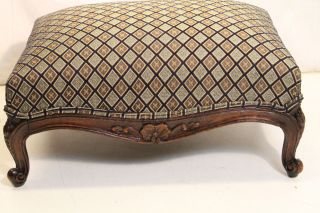 Elegant French Louis Xv Style Mahogany Bench Stool,  Upholstery photo
