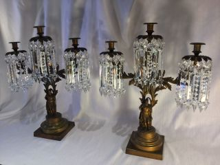 Pair 1850 ' S Large Bronze Girandole Candlesticks/72 Cut Crystal Prisms. photo