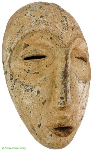 Lega Mask Bwami Society White Face Congo Africa photo