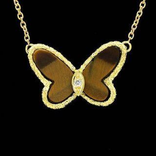 Van Cleef & Arpels Lucky Alhambra Papillon 18k Yellow Gold Tiger Eye Diamond photo