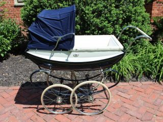 Vintage English Pedigree Pram/stroller/carriage Navy And White,  Exceptional photo