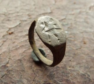 Authentic Medieval Bronze Ring With Engraved Bird.  (249) photo