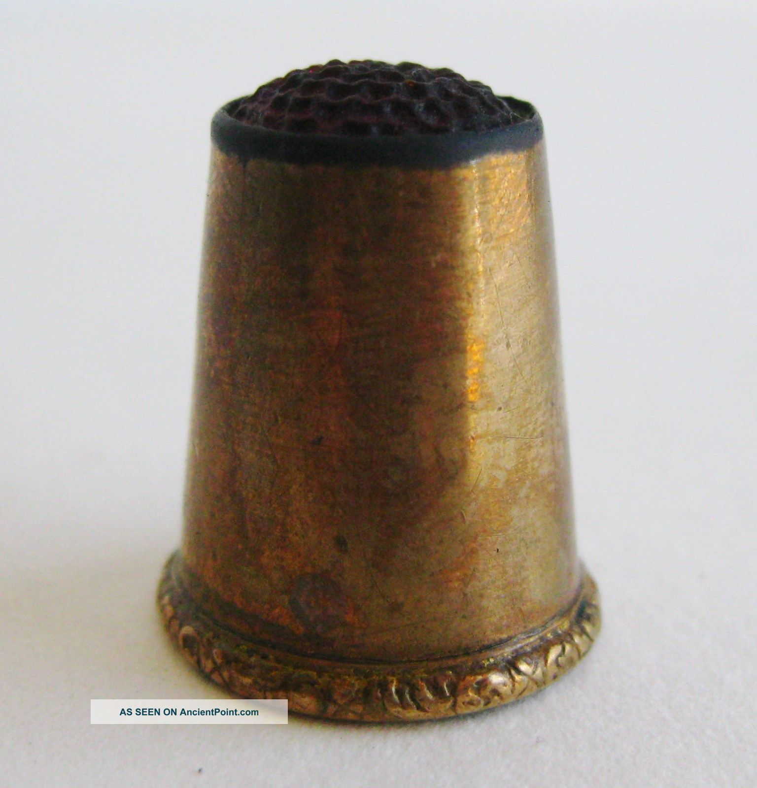 Antique Gold Filled Red Glass Top Sewing Thimble Thimbles photo