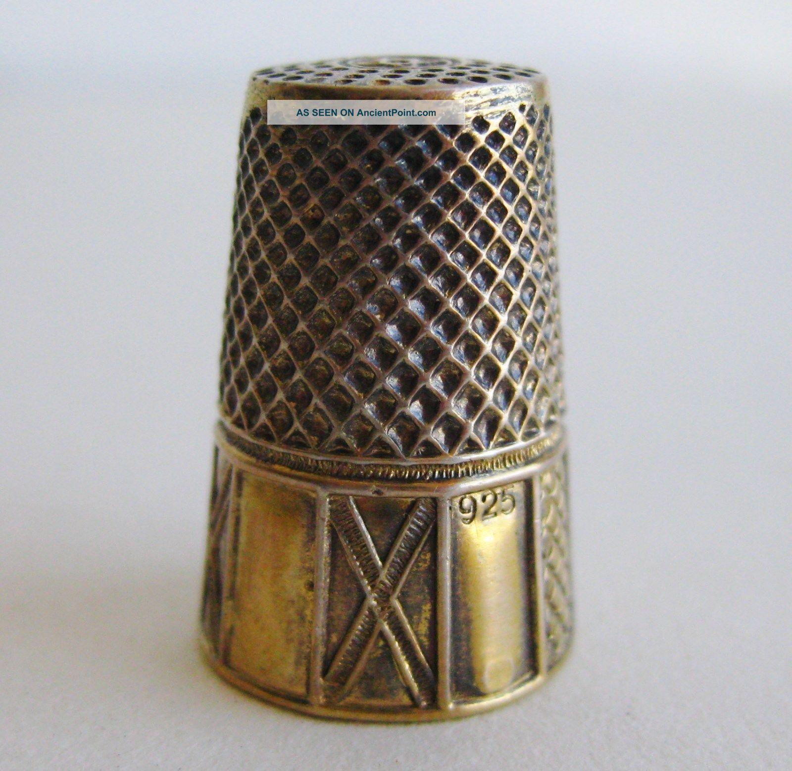 Fine Antique Gold Vermeil Sterling Silver Sewing Thimble Thimbles photo