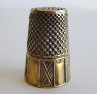 Fine Antique Gold Vermeil Sterling Silver Sewing Thimble photo