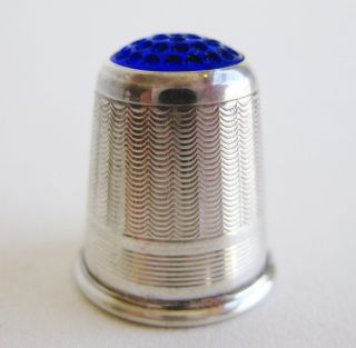 Fine Antique Sterling Silver Norway Haakon Jakobsen Thimble Blue Glass Top photo
