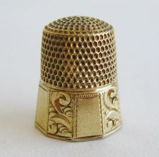 Fine Antique Victorian 14k Gold Simons Bros Sewing Thimble 4.  5g photo