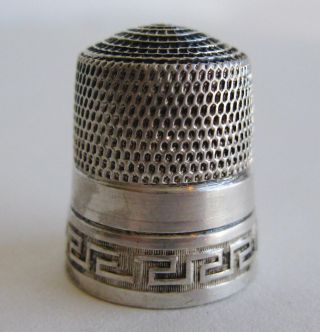 Fine Antique Sterling Silver Simons Bros Sewing Thimble Greek Key Design Sz 12 photo