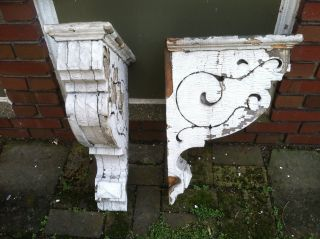 Antique Pair Victorian Corbels Architectural Salvage Chippy Paint photo