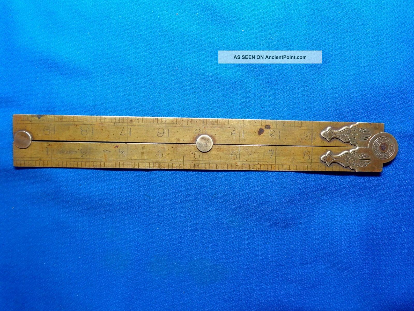 Rare Antique Swedish Solid All Brass Folding Ruler Sweden Nya Gamla Double Rule Parallel Rules photo