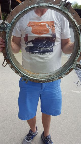 Huge Vintage Brass Porthole 22 Inches Wide Flawless Glass With Natural Tint photo