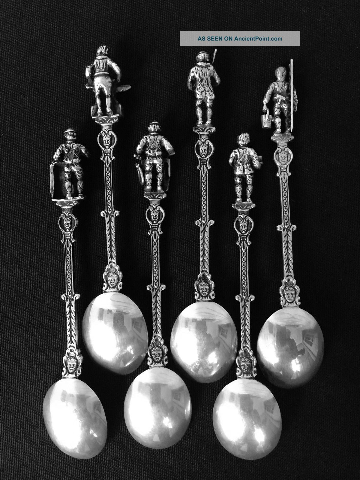 Rare 6 Dutch 835 Silver Coffee Spoons W/tradesman Finials Other Antique Non-U.S. Silver photo