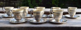 Lenox Demi Tasse Porcelain Inserts Sterling Silver Holder And Saucers photo