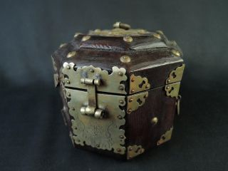 B6527: Korean Ly Dynasty Wooden Container For Article Case Box,  Copper Fittings photo