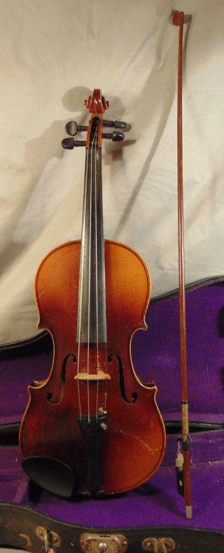 Antique Czech 4/4 Violin W/ Case & Bow Antonius Stradivarius Cremonensis 1722 photo