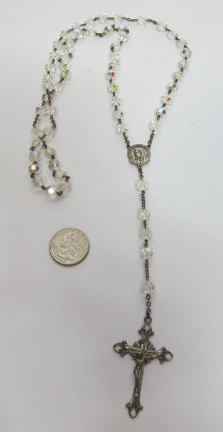 Vintage Sterling Silver Double Capped Rock Crystal Crucifix Rosary Nr Yqz photo