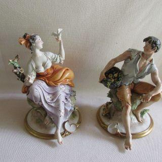 Dn - Pair Capodimonte Giuseppe Cappe Peasant Man & Woman Figurines - 8.  5