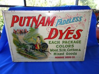 Putnam Fadeless Dyes Lithograph Tin & Wood Advertising Store Display Cabinet photo