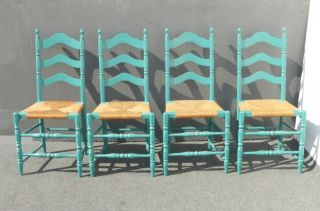 Four Vintage French Country Turquoise Ladderback Rye Dining Room Accent Chairs photo