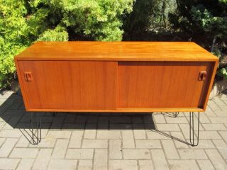 Mid Century Modern Stamped Danish 1960 ' S Teak Sideboard Credenza Metal Legs photo