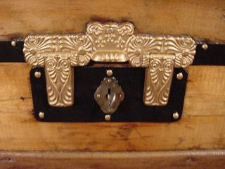 Ladycomet Victorian Refinished Dome Top Steamer Trunk Antique Chest W/key photo