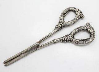 Vintage Early 20c Pair Sterling Silver Grapevine & Bunch Motif Grape Shears photo
