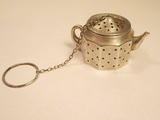 Antique Sterling Silver Tea Strainer Tea Pot Ak689 photo