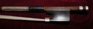Very Good Antique Full Silver Mounted Violin Bow - photo