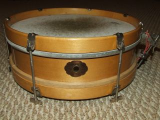 Antique 1930 ' S Slingerland Maple Snare Drum - 6 Thumb Screw Lugs - Cloud Badge photo