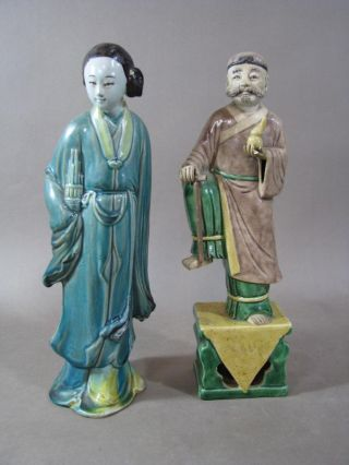 Two Antique Chinese Ceramic Statues,  Sancai Glaze Sage,  Blue Glaze Lady photo