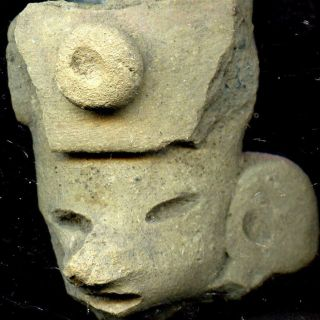 Pre - Columbian Aztec Mazapan Terracotta Figure Head,  Ca; 700 - 1200ad photo