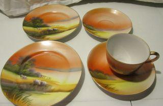 Chikaramahi Japan 1 Tea Cup 2 Saucers 2 Dessert Plates Hand Painted China Guc photo
